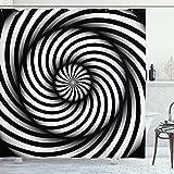 Blanco y negro Swirl impresión cuarto de baño cortina de ducha tela impresión decoración casera bañera cortina WC