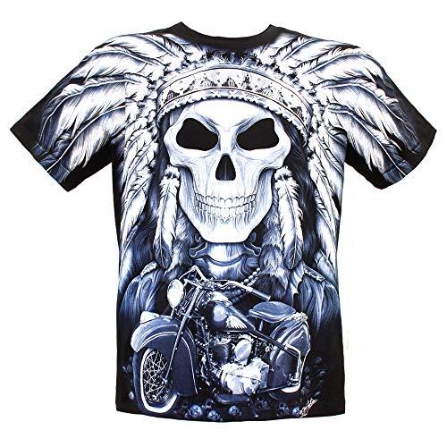 ROCK Chang T-Shirt Camiseta de Manga Corta Unisex en Algodón Que Brilla en la Oscuridad con Estampado Tocado de Calavera Indian con Motocicleta Harley(F-HD-022) M