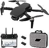 XYSQWZ Drone GPS con CáMara 4K para Adultos, 5G WiFi FPV 2 Ejes Gimbal Auto Return Home Follow Me Plegable RC Quadcopter Juguete con BateríAs Y Estuche De Transporte
