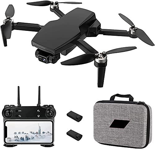 J-Clock Drone GPS con Fotocamera 4K per Adulti, 5G WiFi FPV 2 Assi Gimbal Ritorno Automatico a casa Seguimi Giocattolo Pieghevole RC Quadcopter con batterie e Custodia per Il Trasporto