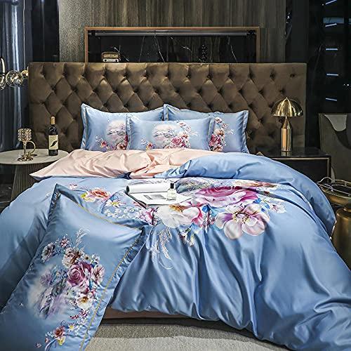 Exlcellexngce Bettbezug 140x 200,Nordisches Hautfreundliches, Leichte Luxus, Digitaler Druck, Gewaschene Seidebetten, Eisdecke, BettwäSche, BettwäSche, Kissenbezug, BettwäSche-Q_1,8m Bett (4 StüCke)