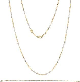 Gioiello Italiano - Parure da uomo superlight in oro bianco e giallo 14kt, collana e bracciale