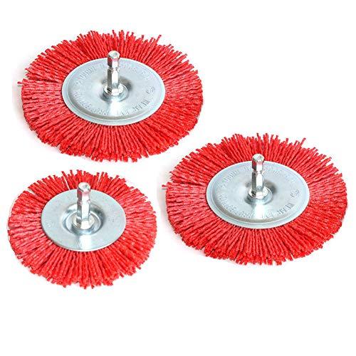3Pcs Abrasive Wire Wheel Brushes Assorted Nylon Brush Set 3Inch/4