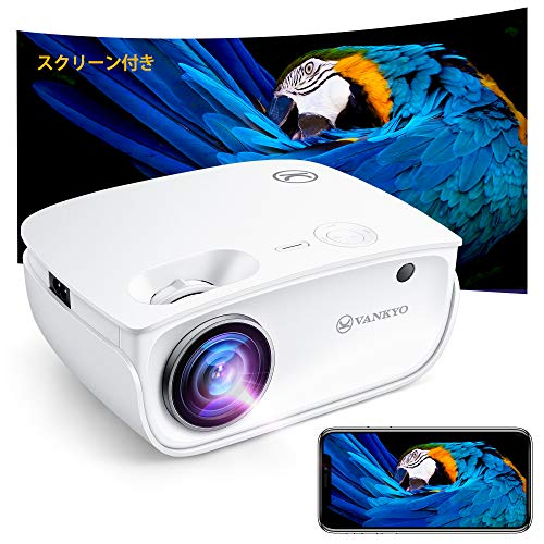 VANKYO Projector 6,500 High Brightness [Screen Included] 1080P Full HD Compatible with Smartphone Directly Mini Projector WiFi/USB/HDMI/AV/VGA, Compatible with SWITCH/PC/IOS/Android/DVD, etc., 490W (White)