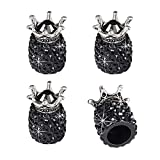 JUSTTOP Car Wheel Tire Valve, 4 Pack Handmade Crown Crystal Rhinestone Car Stem Air Caps Cover, Attractive Dustproof Bling Car Accessories, Universal for Most Vehicles-Crown Black
