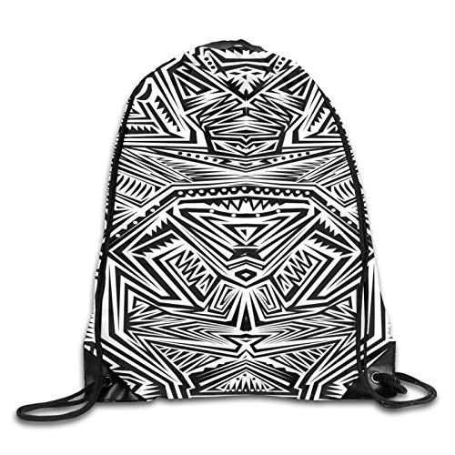 Abstrakte Zusammensetzung geometrischer Formen ethnischer Maori-Muster für Hintergrund Kordelzug Rucksack Sport Gym Bag Rucksack Schultertaschen für Wandern Yoga Reisen Strand