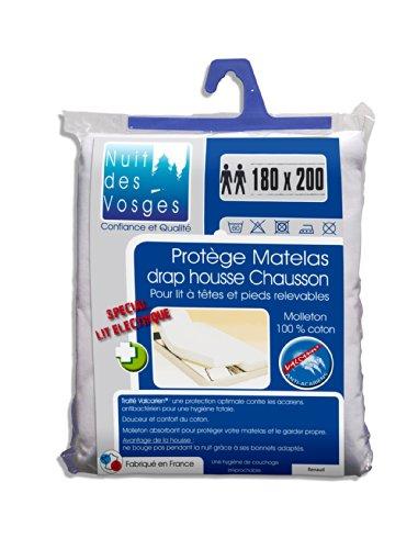 Nuit des Vosges 2080636 Renaud Molton absorberende matrasbeschermer voor lattenbodem verstelbaar/katoen wit 200 x 180 cm