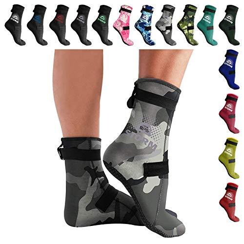 BPS - Neoprene Water Socks (High Cut)- Grey Camo Neoprene w/Lilac Grey Logo - L