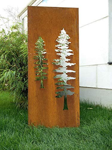 Zen Man Inkijkbescherming voor tuin van metaal, roest tuinhek, tuindecoratie, edelroest, zichtwerende wand b 50 x h 120 cm