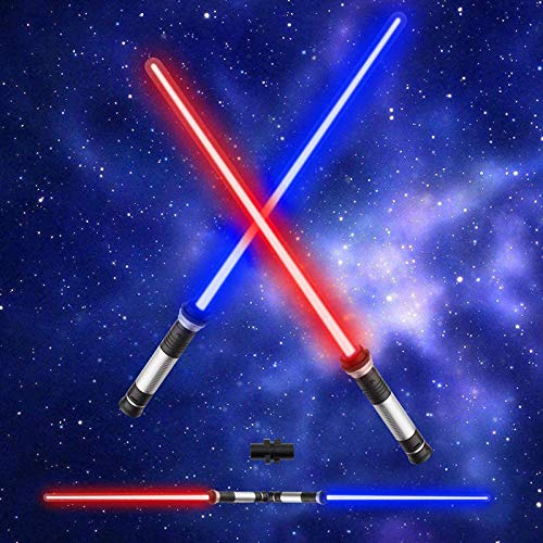 Shhjjyp 2Pc Toy Lightsaber Light Sword Retractable Sword Double Sided Saber Multi Color Lightsaber with Sound Effects Toy Light Sabers for Boy Girls Childrens Gifts for Children