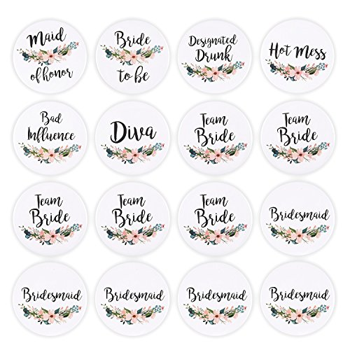 16 Pack – Bridal Party Pins – Wedding Party Buttons – Bridesmaid Gifts, Favors & Gifts, Team Bride, Maid of Honor Party…