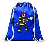 'Turn Bolsa 'bombero de fuego de manguera de rescate de agua de casco con cordón–100% algodón de bolsa Con Asas De Mochila de bolsa de deporte, azul
