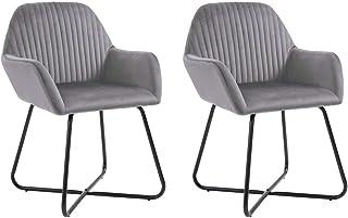 Juego de sillas decorativas de 2 sillas de comedor de terciopelo Sillas de salón modernas Sillones de ocio Silla de comedor tapizada con patas de metal para cocina, comedor, dormitorio