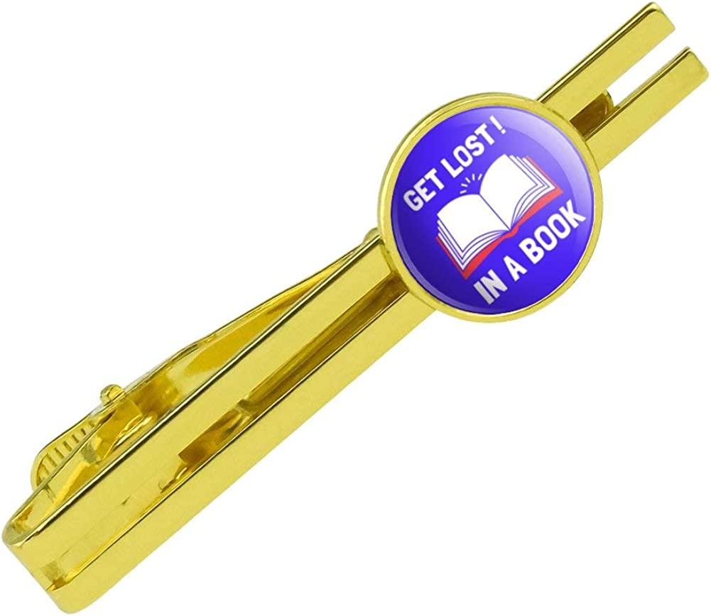 GRAPHICS & MORE Get Lost in A Book Read Funny Humor Round Tie Bar Clip Clasp Tack Gold Color Plated