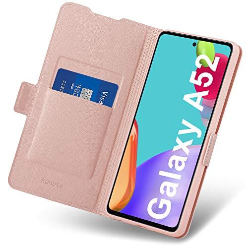 Aunote Cover Samsung A52, Custodia Galaxy A52 Flip, Custodie a Libro Samsung A52 4G/5G, Folio Pelle Portafoglio in Pelle PU Premium Cover per Samsung Galaxy A52 (Oro Rosa)