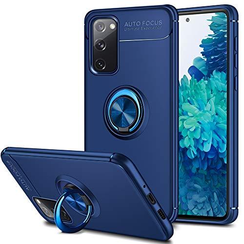 Coolden für Samsung Galaxy S20 FE 5G Hülle mit 360 Grad drehbarer Ring Halter Ständer Ultra Dünn Handyhülle Hülle Weich TPU Bumper Cover Outdoor Stoßfest Schutzhülle für Samsung S20 FE 6.5 Zoll Blau