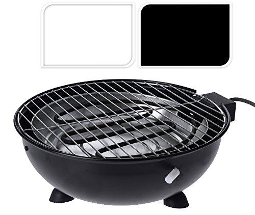 Tisch-Grill, elektrisch, rund, weiß, Barbecue Elektrogrill