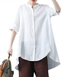 YESNO JG6 Women Casual Loose Tops Blouse Button-Down Plus Size Jacket V Neck Long Bat-Wing Sleeve Cocoon Model 2 Layers
