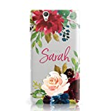 Dyefor PERSONALISED TRANSPARENT NAME & ROSES MOBILE PHONE