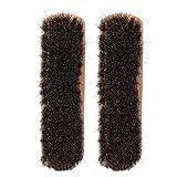 Feg Brosses à Chaussures en CRIN de Cheval rainurées à Arbre Long Doux, Brosse à Paillettes en CRIN de Cheval, M L pour(Log Color Large)