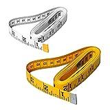 2 unidades de cinta métrica de tela gruesa, 300 cm / 120 pulgadas suave de bolsillo para costura de tejido corporal, pérdida de peso, tejido artesanal, doble escala (blanco, amarillo)