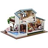 Puppenhaus DIY verträumte Puppenhaus-Landhaus-Art mit LED-Lichtern ohne Staubschutz passt für...