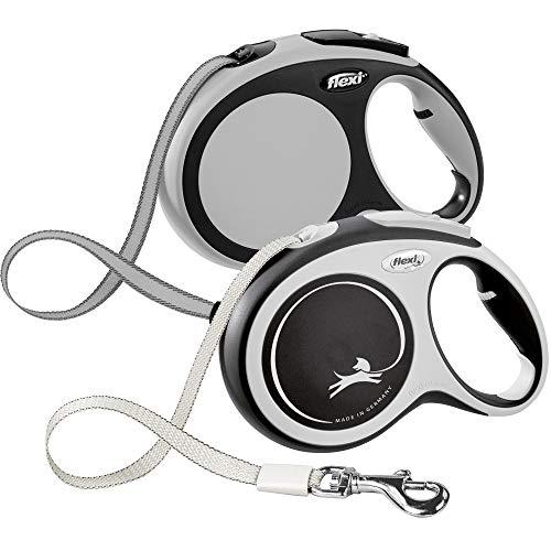 FLEXI New Comfort Retractable Dog Leash (Tape), 26 ft, Large, Grey/Black