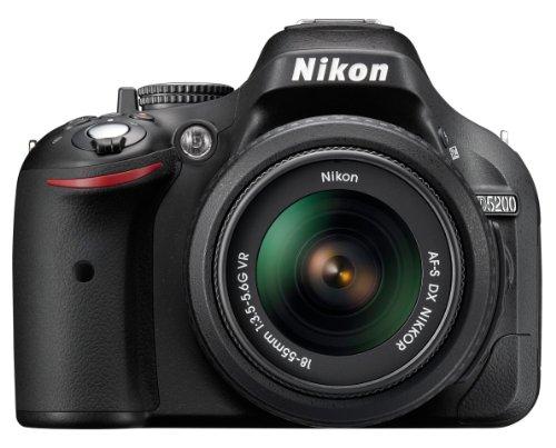 Nikon D5200 SLR-Digitalkamera (24,1 Megapixel, 7,6 cm (3 Zoll) TFT-Display, Full HD, HDMI) Kit inkl. AF-S DX 18-55 mm VR Objektiv schwarz