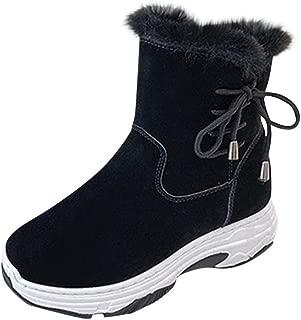 BALABA◕。 Women Winter Lace Up Zipper Platforms Warm-Plush Ankle Snow Boots Flock Low Heel Winter Boots Outdoor
