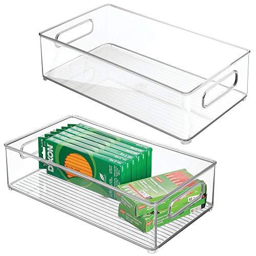 mDesign Juego de 2 organizadores de cajones para oficina – Cajas organizadoras rectangulares para material de oficina – Cajas de plástico apilables con asas para armario y escritorio – transparente