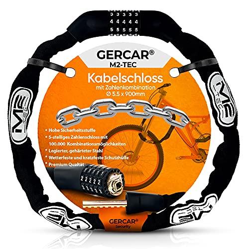 GERCAR Fahrradschloss mit Zahlen Fahrrad Kettenschloss Zahlenschloss 630g - Hochwertige Zylindertechnik aus Zinklagierung, mit 5-stelligem Zahlencode und Leichte Konstruktion, 90cm lang, 5,5mm stark
