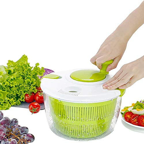 RUNYN Salad Spinner, Multifunction Vegetable Dryer, Manual Washing Fruit Basket, with Drainage Sieve Water and Salad Bowl for Washing and Drying Leafy Vegetables