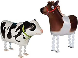 VOULOIR Walking Animal Balloons Horse and Cow Balloon Air Walkers, Kids Farm Animal Theme Birthday Party Supplies Birthday Decorations