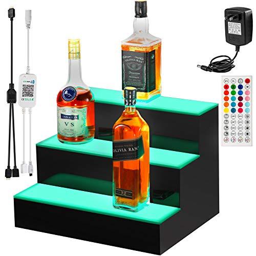 VEVOR LED Lighted Liquor Bottle Display Shelf, 16-inch LED Bar Shelves for Liquor, 3-Step Lighted Liquor Bottle Shelf for Home/Commercial Bar, Acrylic Lighted Bottle Display with Remote & App Control