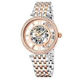 Stuhrling Original Womens Dress Watch - Skeleton Watch Self Winding Automatic Watch Mechanical Wrist Watches for Woman with Stainless Steel braclet Delphi Ladies Watches (Rose Gold)