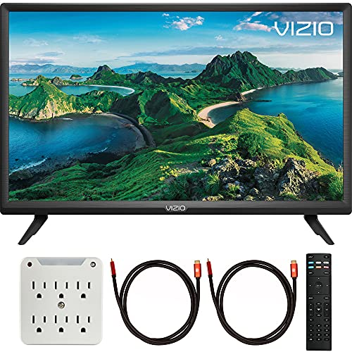 Vizio D24f-G1 D-Series 24 inch Class Smart TV 2019 Bundle with Deco Gear Pack of 2 6FT Universal 4K HDMI 2.0 Cable and 6-Outlet Surge Adapter with Night Light