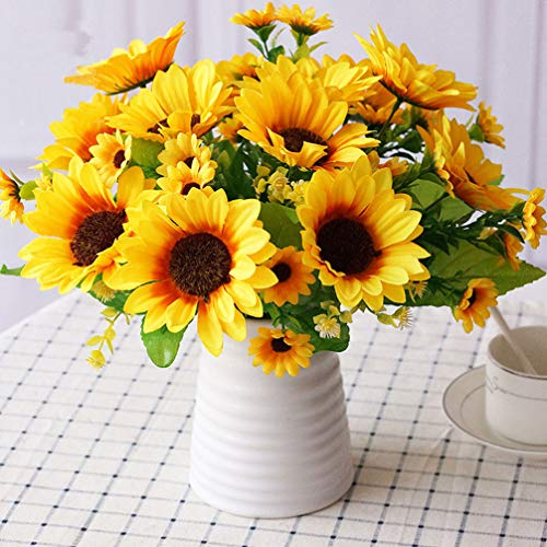 Sunrisee Artificial Sunflowers 4 Bunches Fake Silk Flower Bouquet Artificial Flowers for Home Wedding Office Party Decor, 11.8 Inches