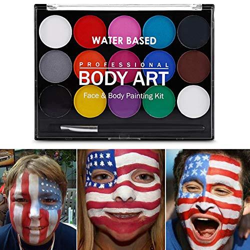 AMHDEE 15 Colores Body Painting Maquillaje Facial y Corporal palé Cuerpo Colores Juego Face Pai Ting Make Up Palette Halloween Carnaval Navidad Maskenspiel para niños y adultos