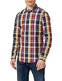 Tommy Jeans TJM Seasonal Check Shirt Camiseta, Twilight Navy/Multi, L para Hombre