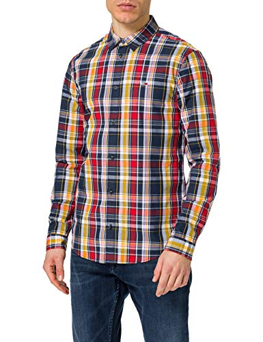 Tommy Jeans TJM Seasonal Check Shirt Camiseta, Twilight Navy/Multi, S para Hombre