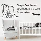 XCSJX Direct Dumbo from Heaven Cita Pared calcomanía bebé guardería habitación de los niños Animal pequeño pájaro Volador Cita inspiradora Etiqueta de la Pared Vinilo 81x29cm