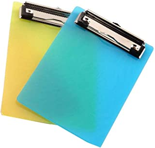 BinaryABC A6 Clipboards,Plastic Clipboard,Mini Colourful Transparent with Low Profile Clip,2 Pack(Random Color)