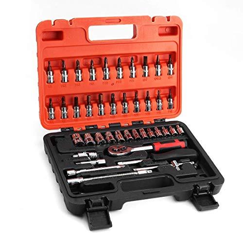 DXX-HR Llave 46 unids 1/4 pulgadas herramientas de reparación de llaves métricas, kit de tornillos herramientas de reparación