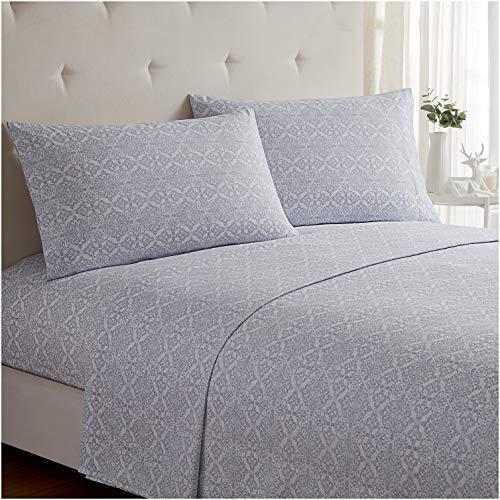 Mellanni Bed Sheet Set - Brushed Microfiber 1800 Bedding - Wrinkle, Fade, Stain Resistant - 4 Piece (King, Laced Sky Blue)