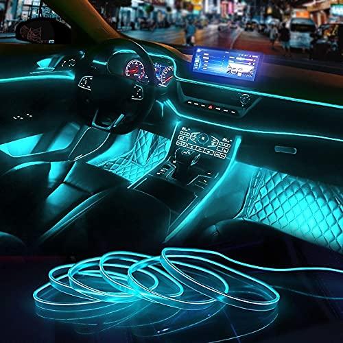 Eulifeled USB LED-Leuchten 10M/32FT Flexible Soft Tube Wire Lights USB Neon EL Draht leuchtendes Auto Dekor Hausdekoration Streifen Glasfaser Licht 360 Grad Beleuchtung (Eisblau)