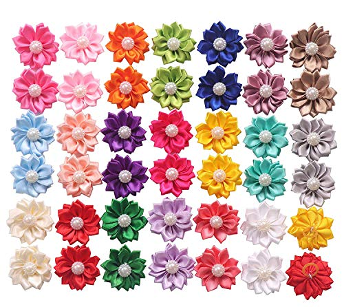 YAKA 40PCS(20Paris) Cute Dog Hair Bows with Rubber Bands Pearls Flowers Topknot Dog Bows Pet...