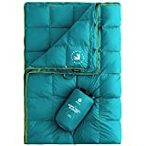 Easthills Outdoors 2 Person Down Puffy Camping Blanket 650 Fill Power Lightweight and Warm Water Resistant Backpacking Quilt - Ideal for Outdoors, Travel, Stadium, Festivals, Beach Trips Green