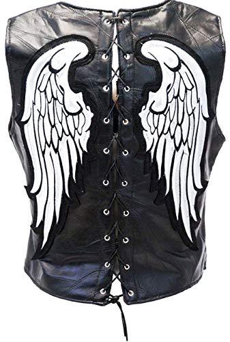 Fashionly Chaleco negro de cuero con alas para hombre y mujer perfecto para fiestas y Halloween