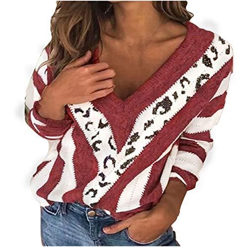 Suéter para Mujer Elegante Estampado de Rayas con Cuello en V con Costuras de Leopardo, Casual Suelto de Manga Larga Tallas Grandes Suéter de Entrenamiento Blusa Tops 2021 (Vino, XL)