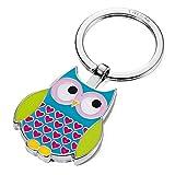 Porte-clés chouette, fonte métallique/émail, chromé brillant, bleu